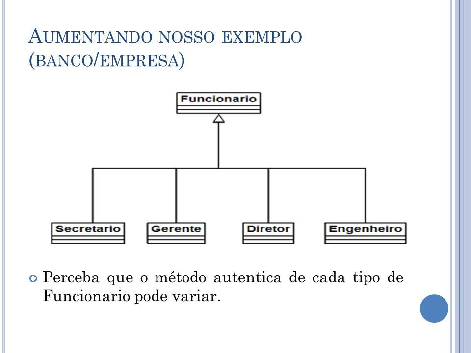 A UMENTANDO NOSSO EXEMPLO ( BANCO / EMPRESA ) Perceba que o método autentica de cada tipo de Funcionario pode variar.