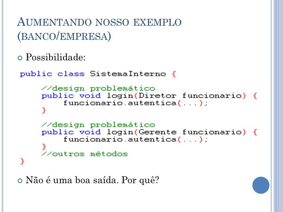 A UMENTANDO NOSSO EXEMPLO ( BANCO / EMPRESA ) De acordo com o slide anterior, cada vez que criarmos uma nova classe de Funcionario que é autenticável, teríamos que adicionar um novo método de login no SistemaInterno.