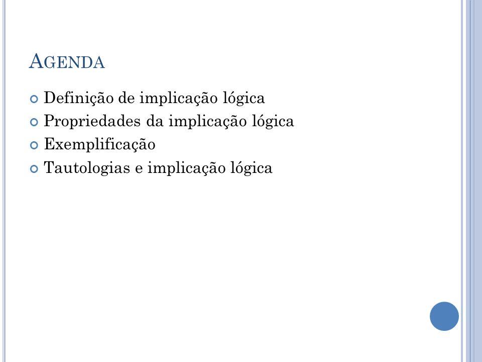 A GENDA Definição de implicação lógica Propriedades da implicação lógica Exemplificação Tautologias e implicação lógica