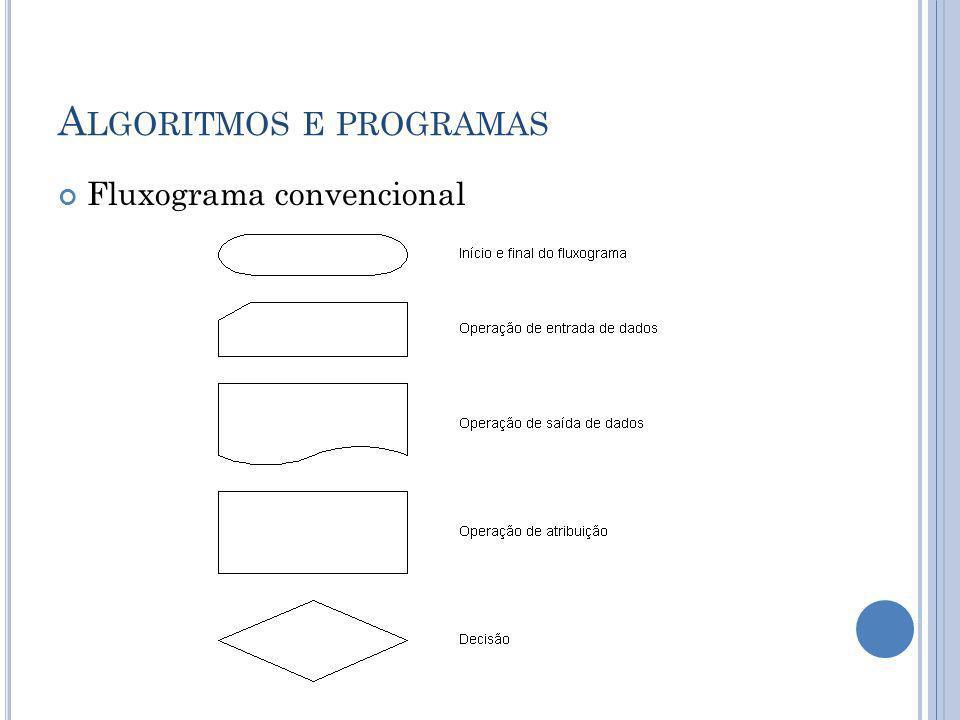 A LGORITMOS E PROGRAMAS Fluxograma convencional