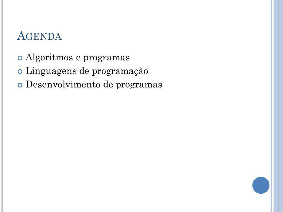 A GENDA Algoritmos e programas Linguagens de programação Desenvolvimento de programas