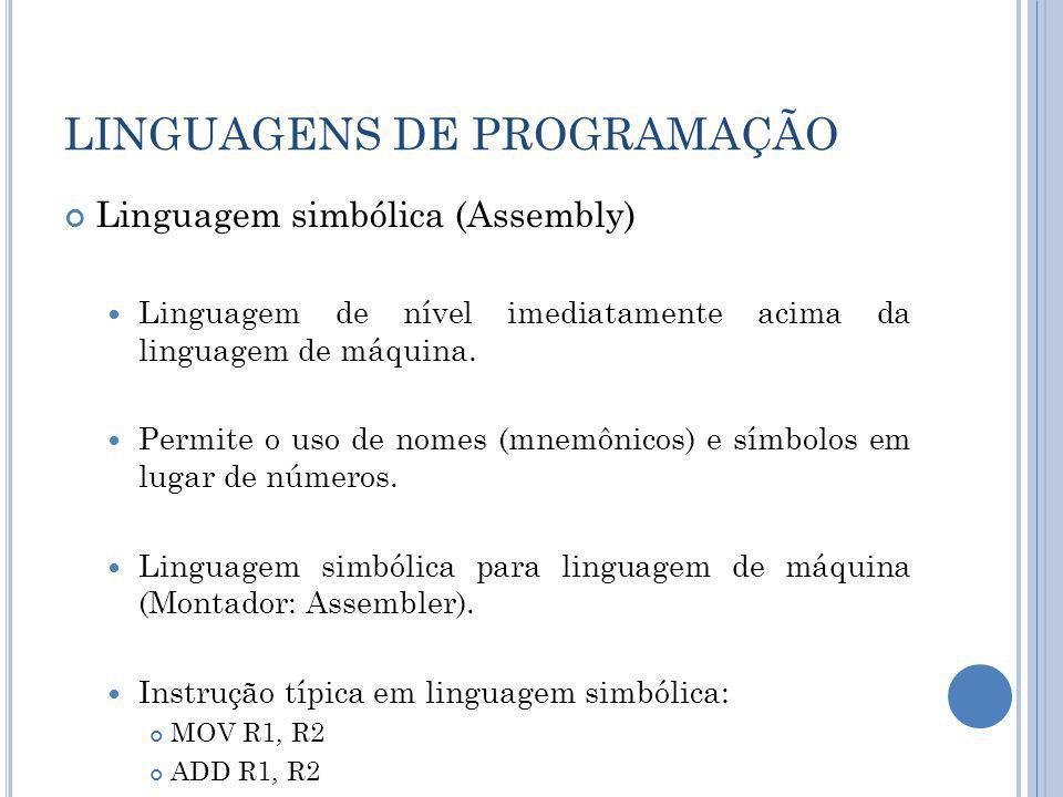 LINGUAGENS DE PROGRAMAÇÃO Linguagem simbólica (Assembly) Linguagem de nível imediatamente acima da linguagem de máquina. Permite o uso de nomes (mnemô