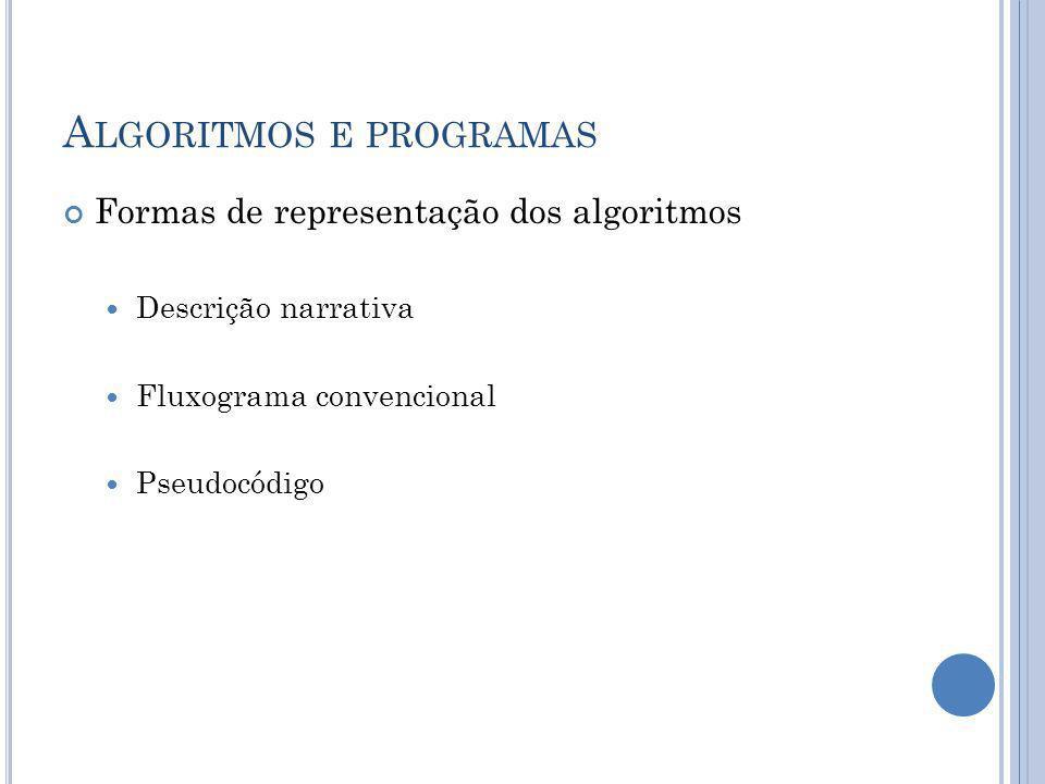 A LGORITMOS E PROGRAMAS Formas de representação dos algoritmos Descrição narrativa Fluxograma convencional Pseudocódigo