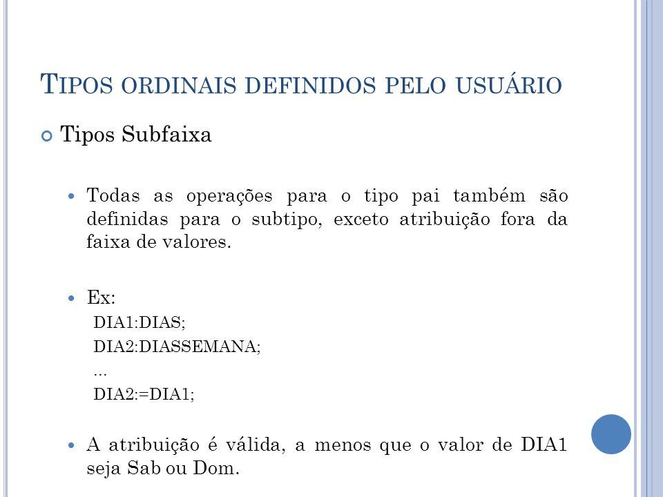 T IPOS ORDINAIS DEFINIDOS PELO USUÁRIO Tipos Subfaixa Todas as operações para o tipo pai também são definidas para o subtipo, exceto atribuição fora d
