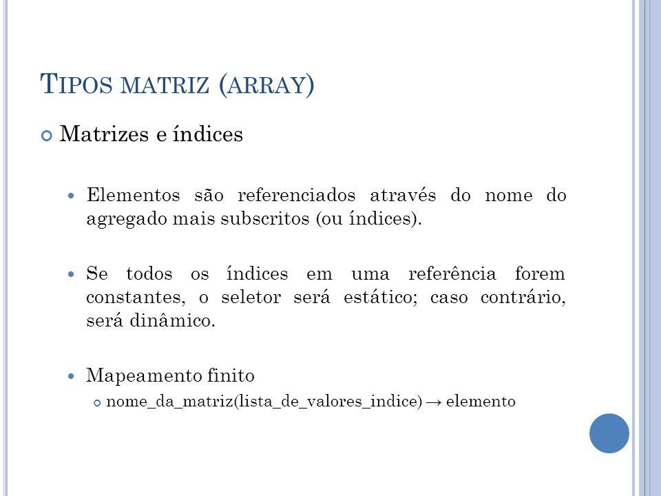 T IPOS MATRIZ ( ARRAY ) Matrizes e índices Elementos são referenciados através do nome do agregado mais subscritos (ou índices). Se todos os índices e