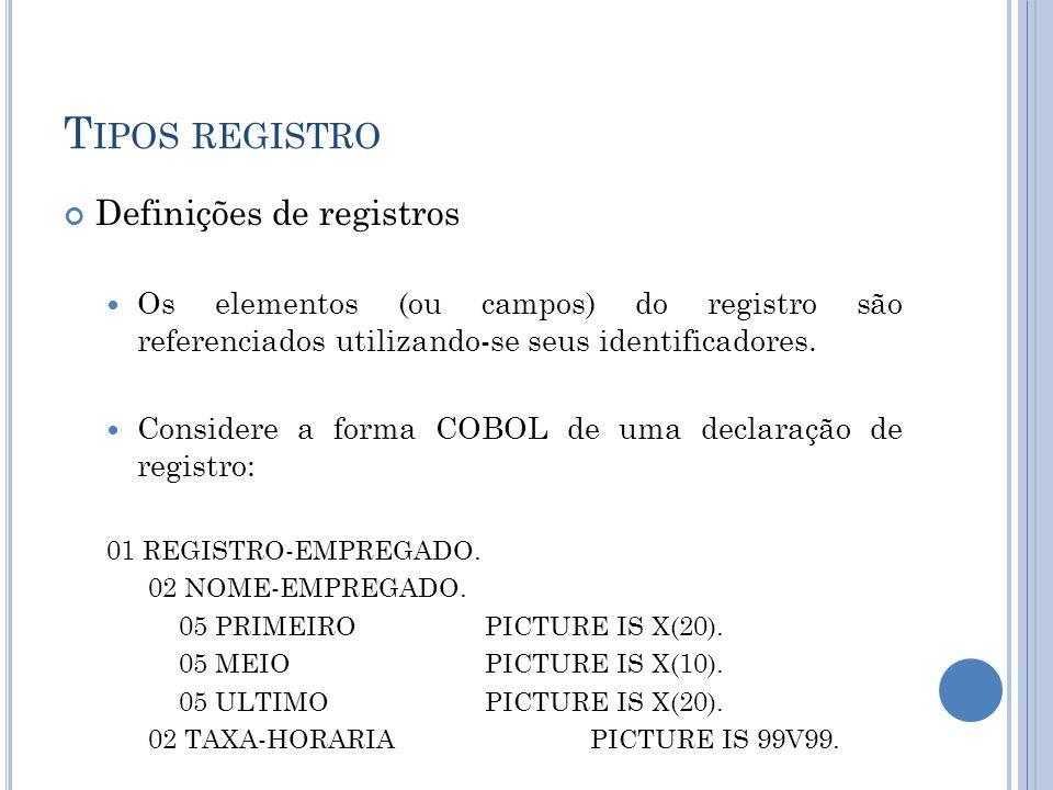 T IPOS REGISTRO Definições de registros Os elementos (ou campos) do registro são referenciados utilizando-se seus identificadores. Considere a forma C