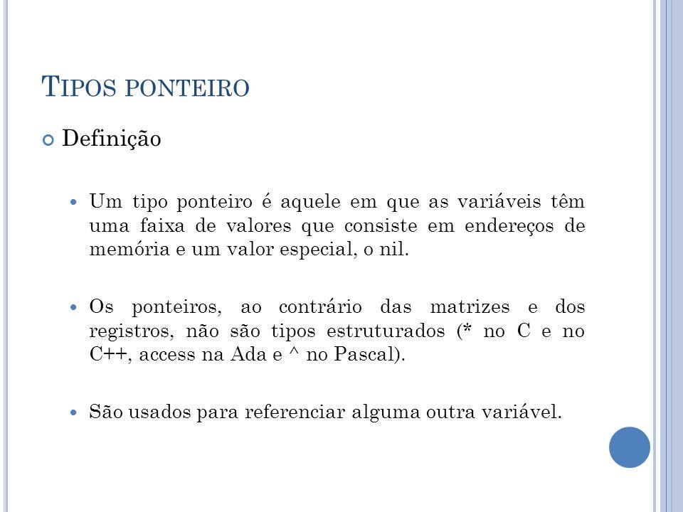T IPOS PONTEIRO Definição Um tipo ponteiro é aquele em que as variáveis têm uma faixa de valores que consiste em endereços de memória e um valor espec