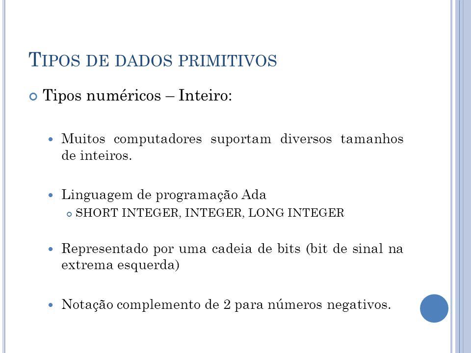 T IPOS DE DADOS PRIMITIVOS Tipos numéricos – Inteiro: Muitos computadores suportam diversos tamanhos de inteiros. Linguagem de programação Ada SHORT I