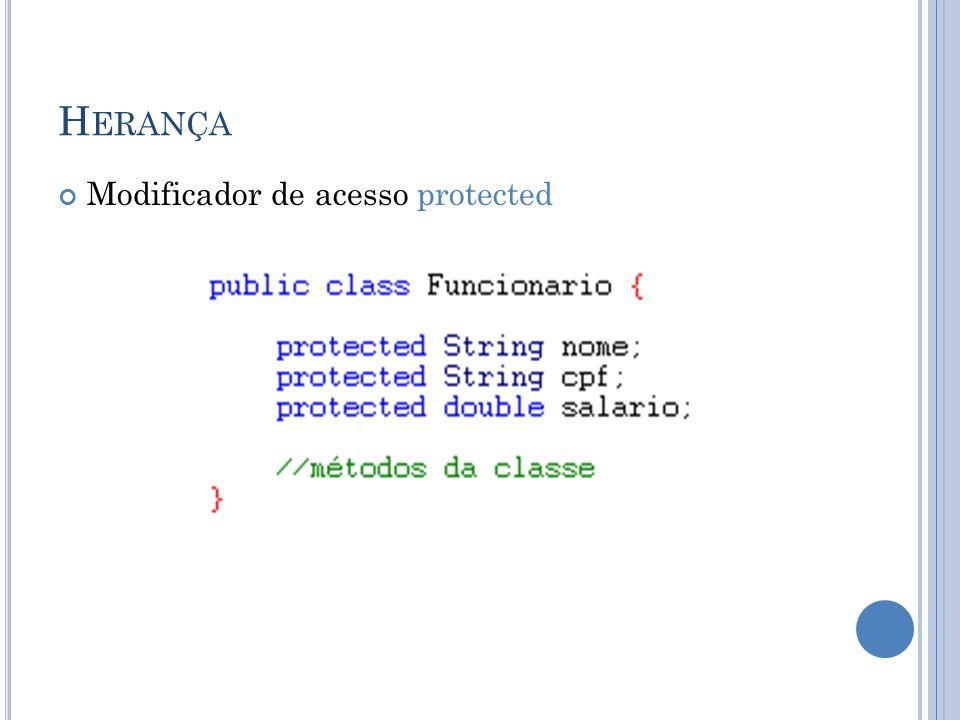 H ERANÇA Modificador de acesso protected