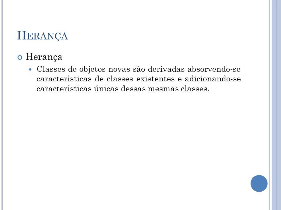 H ERANÇA Herança Classes de objetos novas são derivadas absorvendo-se características de classes existentes e adicionando-se características únicas de