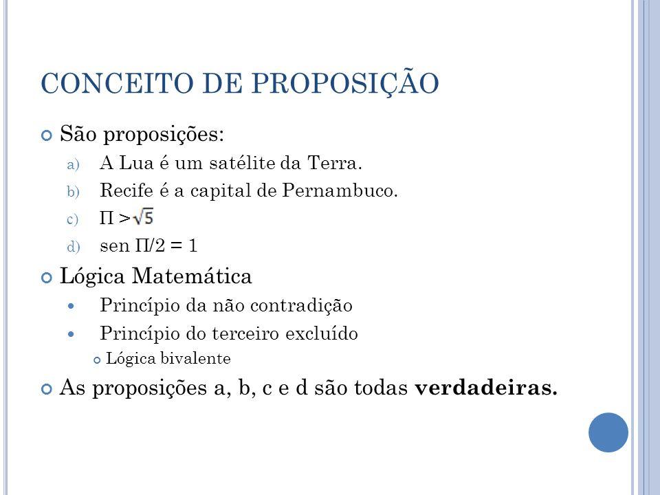 CONCEITO DE PROPOSIÇÃO São proposições: a) A Lua é um satélite da Terra. b) Recife é a capital de Pernambuco. c) Π > d) sen Π /2 = 1 Lógica Matemática