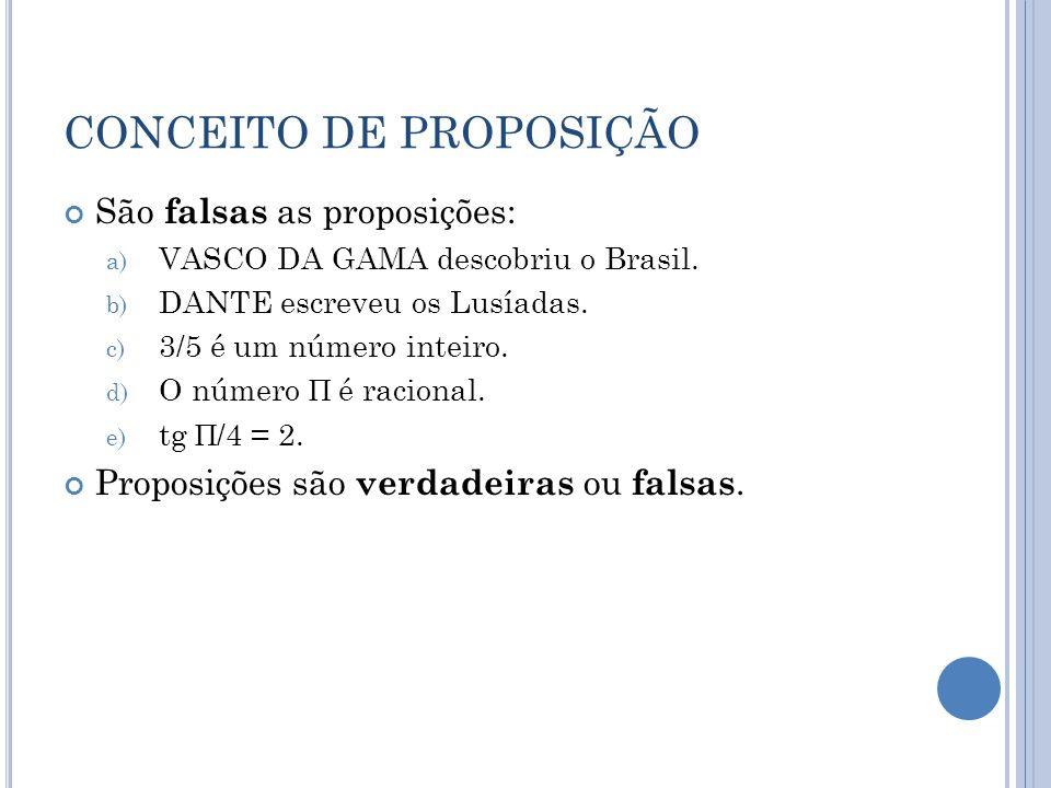 CONCEITO DE PROPOSIÇÃO São falsas as proposições: a) VASCO DA GAMA descobriu o Brasil. b) DANTE escreveu os Lusíadas. c) 3/5 é um número inteiro. d) O