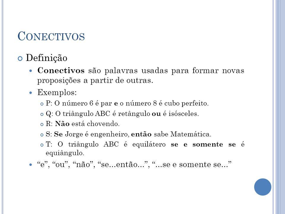 C ONECTIVOS Definição Conectivos são palavras usadas para formar novas proposições a partir de outras. Exemplos: P: O número 6 é par e o número 8 é cu