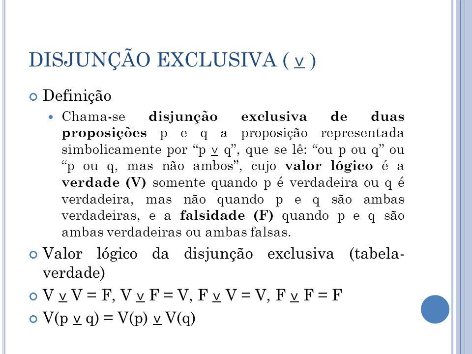 DISJUNÇÃO EXCLUSIVA ( ˅ ) Definição Chama-se disjunção exclusiva de duas proposições p e q a proposição representada simbolicamente por p ˅ q, que se