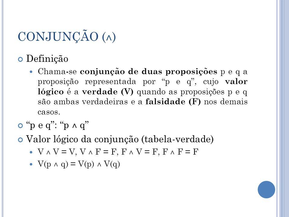 CONJUNÇÃO ( ˄ ) Definição Chama-se conjunção de duas proposições p e q a proposição representada por p e q, cujo valor lógico é a verdade (V) quando as proposições p e q são ambas verdadeiras e a falsidade (F) nos demais casos.