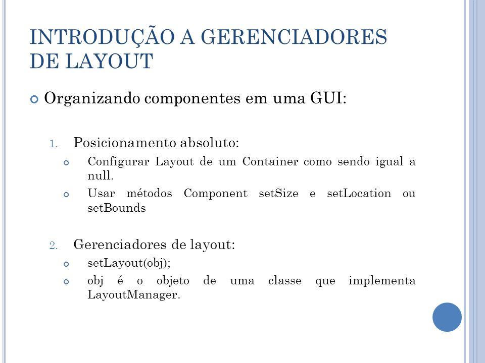 INTRODUÇÃO A GERENCIADORES DE LAYOUT Organizando componentes em uma GUI: 1. Posicionamento absoluto: Configurar Layout de um Container como sendo igua