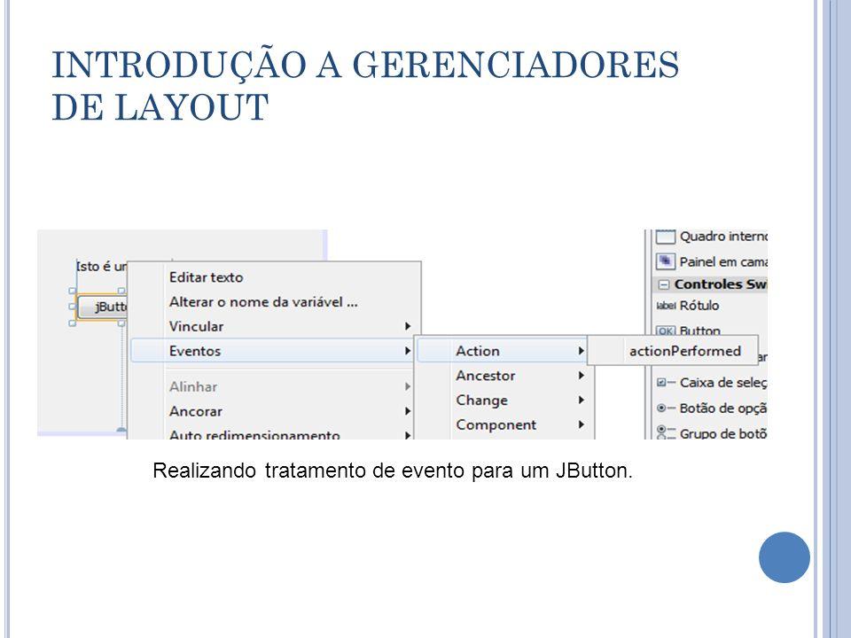 INTRODUÇÃO A GERENCIADORES DE LAYOUT Realizando tratamento de evento para um JButton.