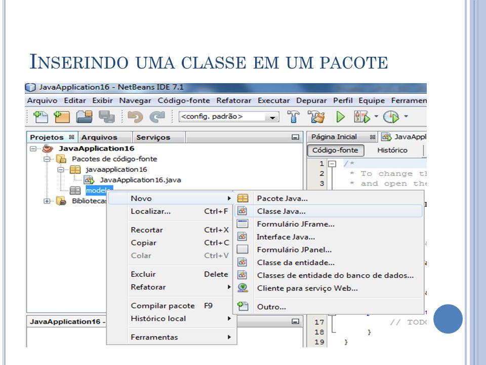 I NSERINDO UMA CLASSE EM UM PACOTE