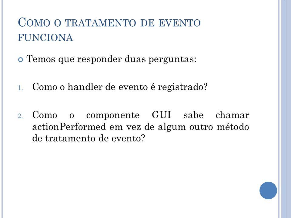 C OMO O TRATAMENTO DE EVENTO FUNCIONA Temos que responder duas perguntas: 1. Como o handler de evento é registrado? 2. Como o componente GUI sabe cham