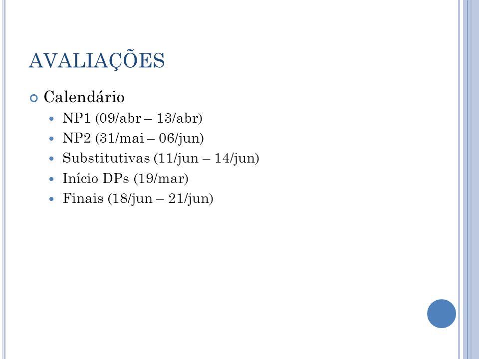 AVALIAÇÕES Calendário NP1 (09/abr – 13/abr) NP2 (31/mai – 06/jun) Substitutivas (11/jun – 14/jun) Início DPs (19/mar) Finais (18/jun – 21/jun)