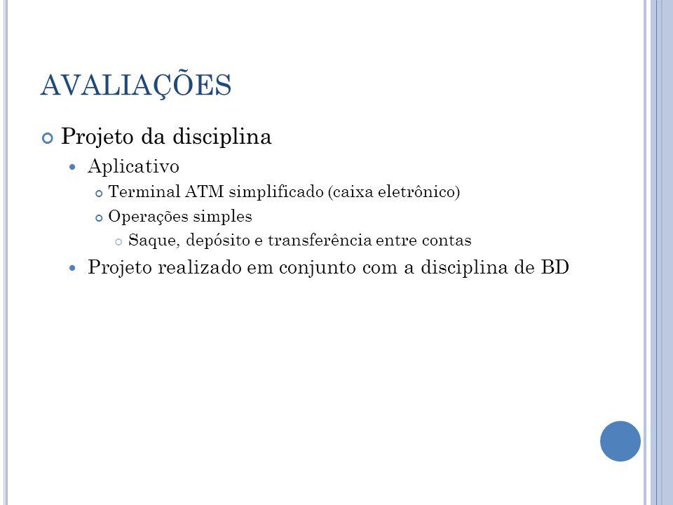 AVALIAÇÕES Projeto da disciplina Aplicativo Terminal ATM simplificado (caixa eletrônico) Operações simples Saque, depósito e transferência entre conta