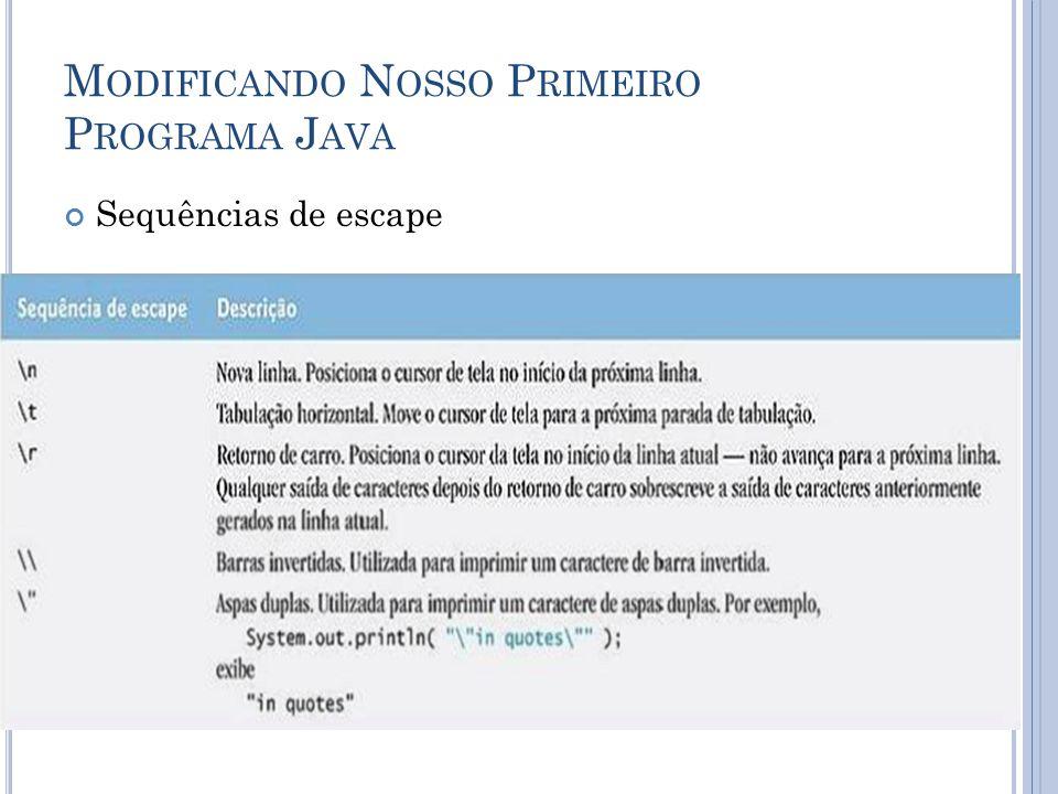 M ODIFICANDO N OSSO P RIMEIRO P ROGRAMA J AVA Sequências de escape