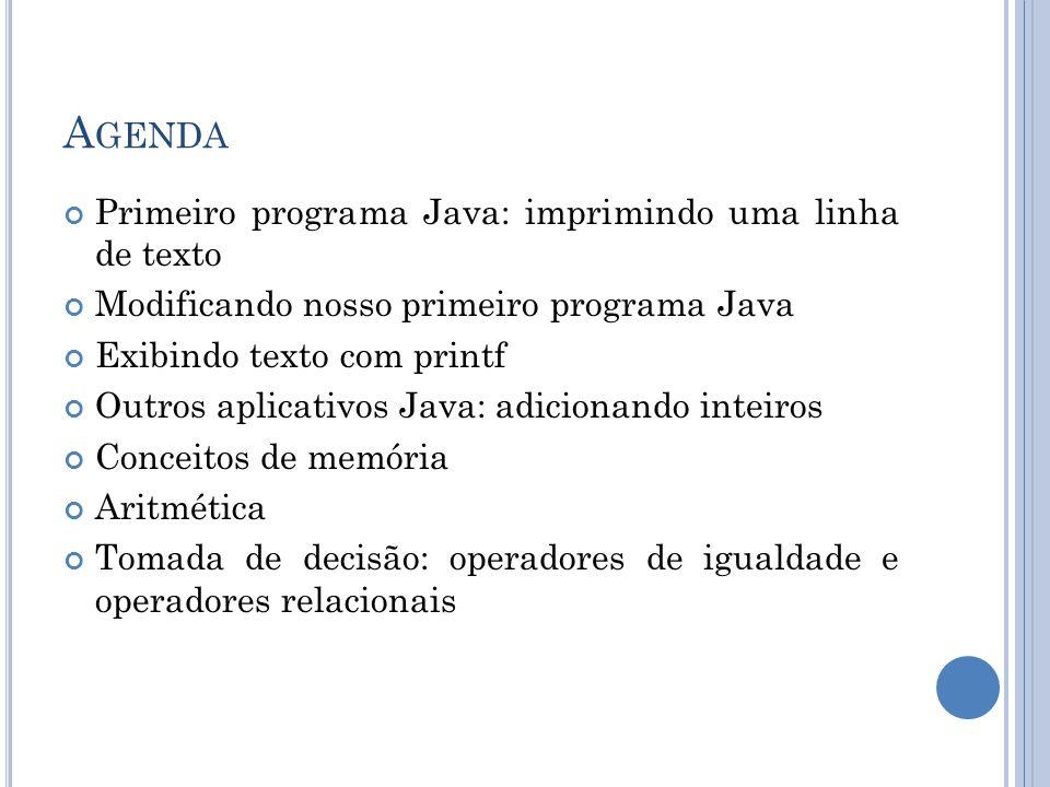 A GENDA Primeiro programa Java: imprimindo uma linha de texto Modificando nosso primeiro programa Java Exibindo texto com printf Outros aplicativos Ja