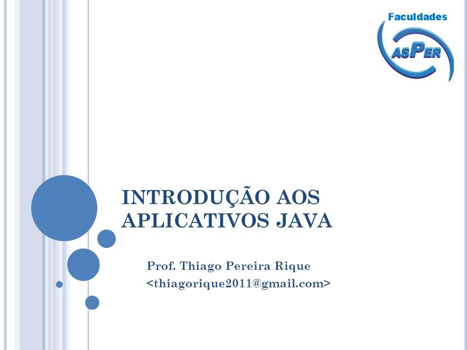 INTRODUÇÃO AOS APLICATIVOS JAVA Prof. Thiago Pereira Rique