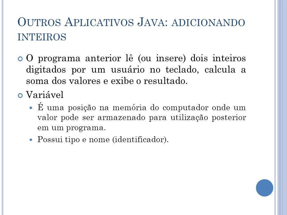 O programa anterior lê (ou insere) dois inteiros digitados por um usuário no teclado, calcula a soma dos valores e exibe o resultado. Variável É uma p