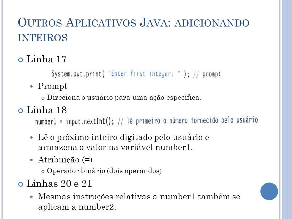 O UTROS A PLICATIVOS J AVA : ADICIONANDO INTEIROS Linha 17 Prompt Direciona o usuário para uma ação específica. Linha 18 Lê o próximo inteiro digitado