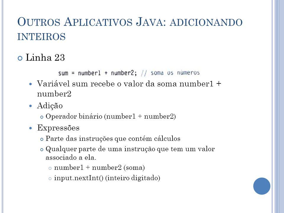 O UTROS A PLICATIVOS J AVA : ADICIONANDO INTEIROS Linha 23 Variável sum recebe o valor da soma number1 + number2 Adição Operador binário (number1 + nu