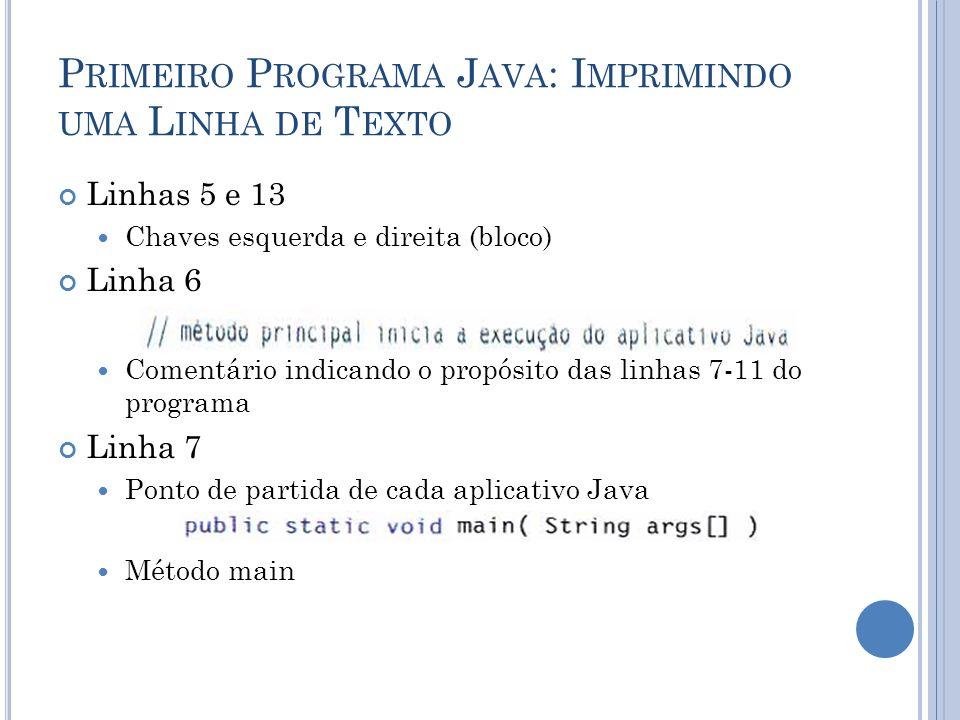 P RIMEIRO P ROGRAMA J AVA : I MPRIMINDO UMA L INHA DE T EXTO Linha 9 Realizar uma ação (que ação?) System.out Objeto de saída padrão Instrução Termina com ponto-e-vírgula (;)