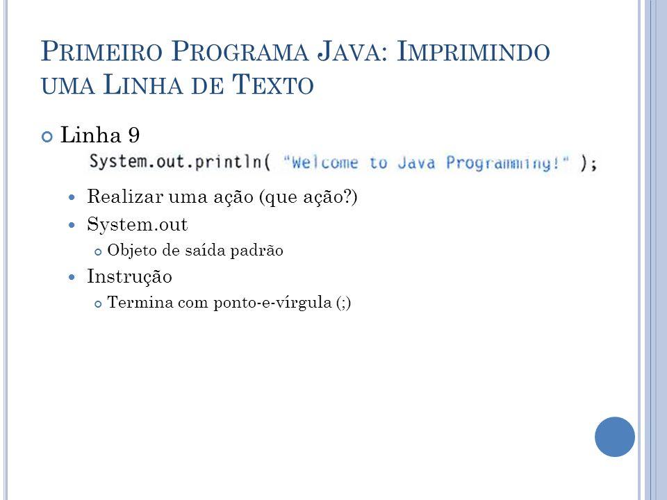 P RIMEIRO P ROGRAMA J AVA : I MPRIMINDO UMA L INHA DE T EXTO Linha 9 Realizar uma ação (que ação?) System.out Objeto de saída padrão Instrução Termina