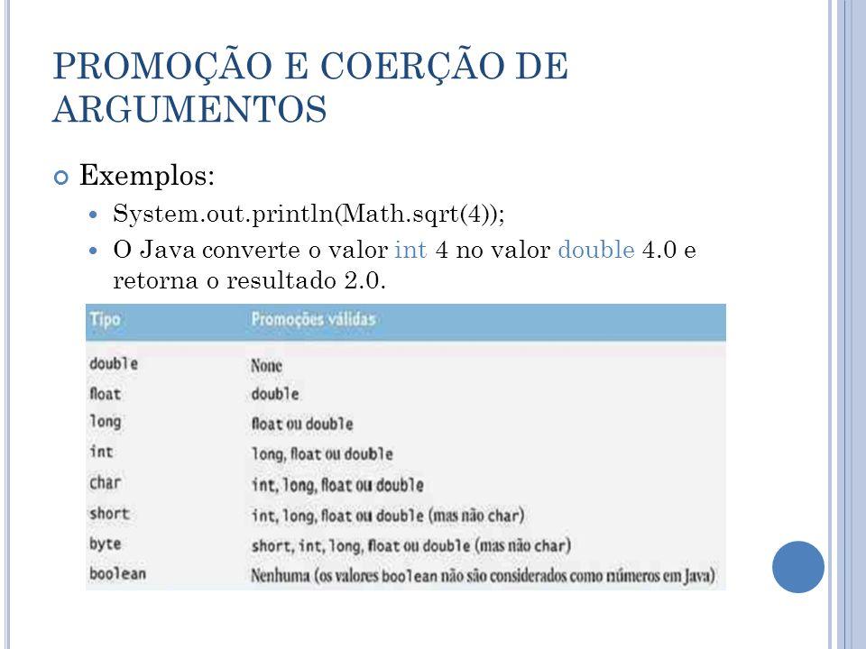 PROMOÇÃO E COERÇÃO DE ARGUMENTOS Exemplos: System.out.println(Math.sqrt(4)); O Java converte o valor int 4 no valor double 4.0 e retorna o resultado 2