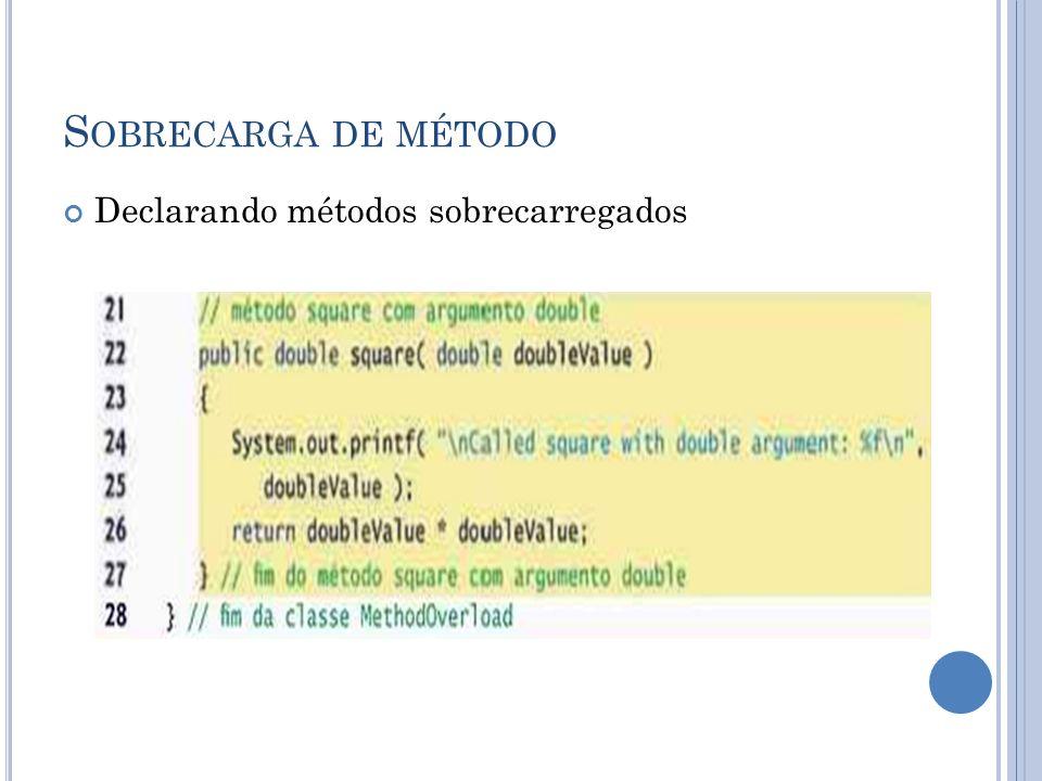 S OBRECARGA DE MÉTODO Declarando métodos sobrecarregados