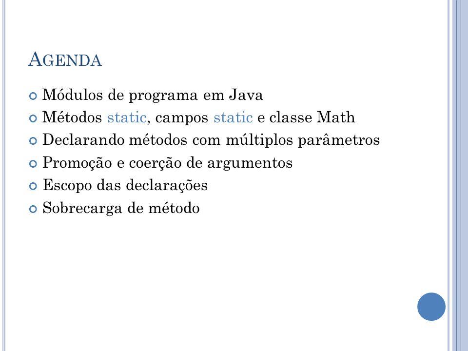 A GENDA Módulos de programa em Java Métodos static, campos static e classe Math Declarando métodos com múltiplos parâmetros Promoção e coerção de argu