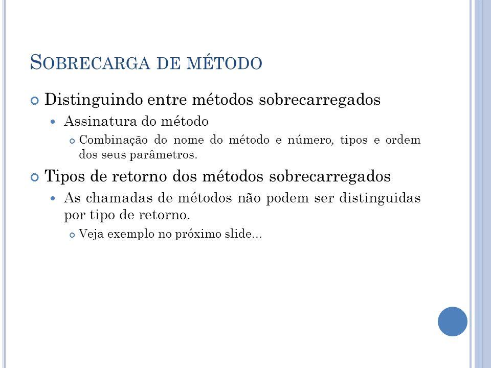 S OBRECARGA DE MÉTODO Distinguindo entre métodos sobrecarregados Assinatura do método Combinação do nome do método e número, tipos e ordem dos seus pa