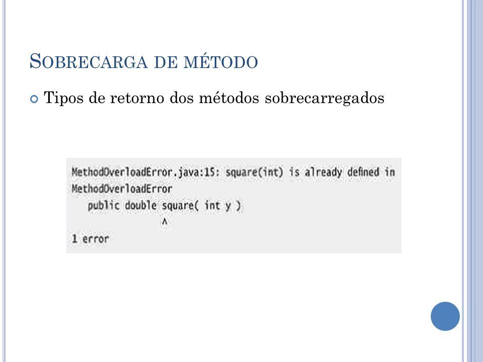 S OBRECARGA DE MÉTODO Tipos de retorno dos métodos sobrecarregados