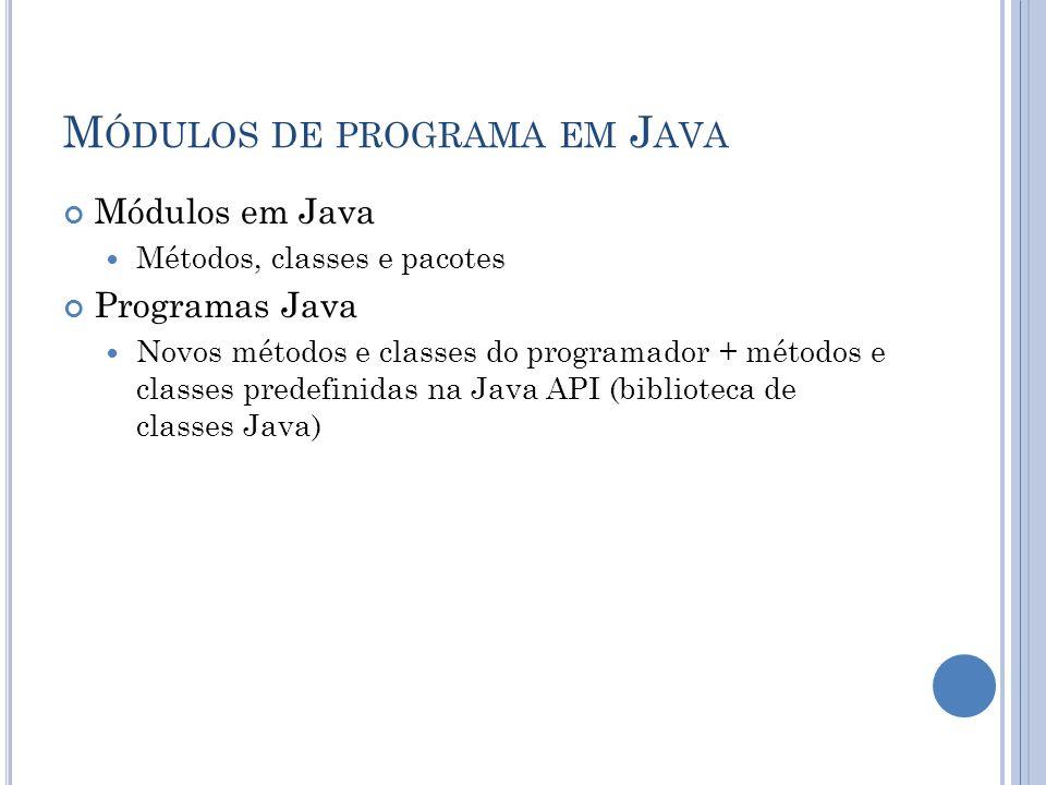 M ÓDULOS DE PROGRAMA EM J AVA Módulos em Java Métodos, classes e pacotes Programas Java Novos métodos e classes do programador + métodos e classes pre