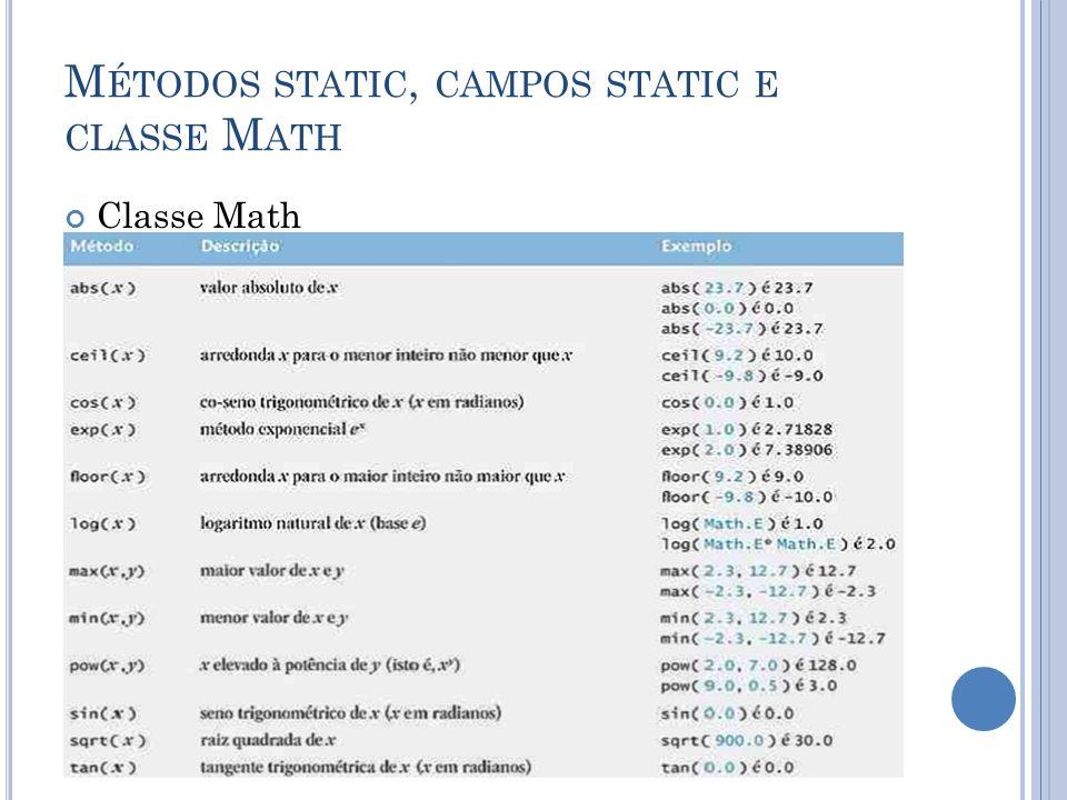 M ÉTODOS STATIC, CAMPOS STATIC E CLASSE M ATH Classe Math Constantes da classe Math PI e E Math.PI = relação da circunferência de um círculo com seu diâmetro Math.E = valor da base para logaritmos naturais Estes campos são declarados na classe Math com os modificadores public, final e static.