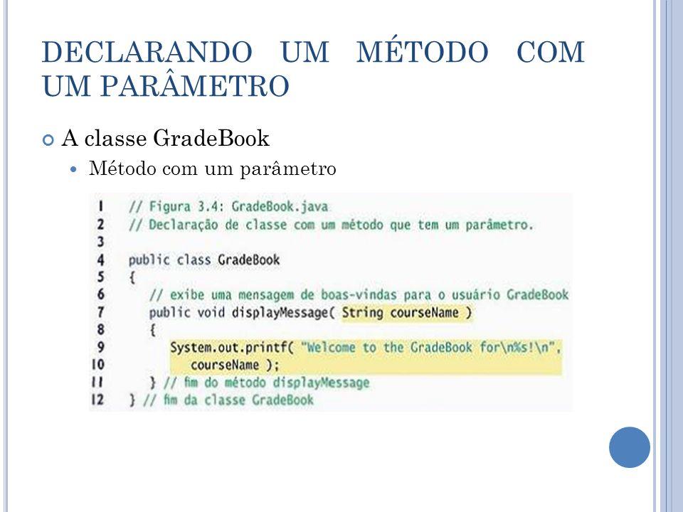DECLARANDO UM MÉTODO COM UM PARÂMETRO A classe GradeBook Método com um parâmetro