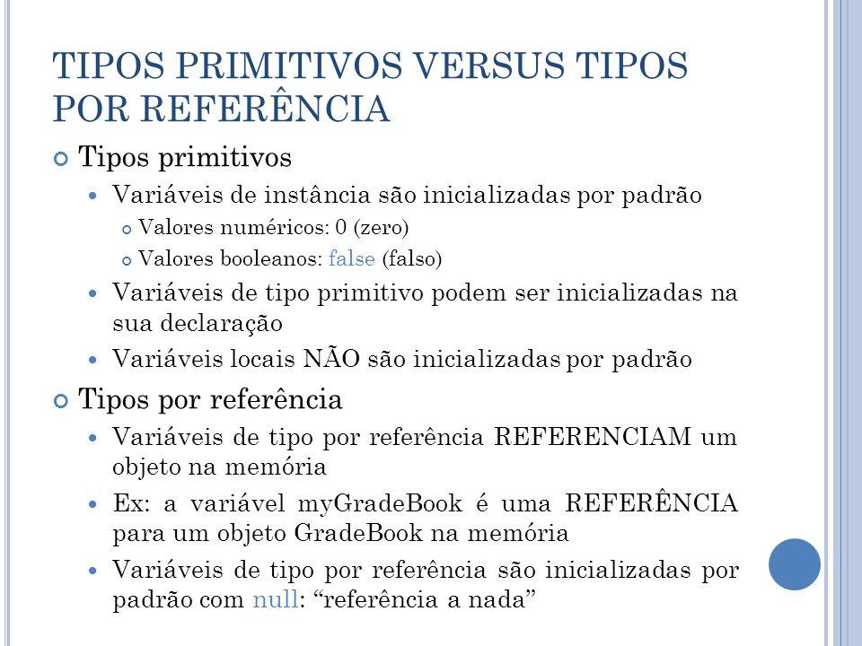 TIPOS PRIMITIVOS VERSUS TIPOS POR REFERÊNCIA Tipos primitivos Variáveis de instância são inicializadas por padrão Valores numéricos: 0 (zero) Valores