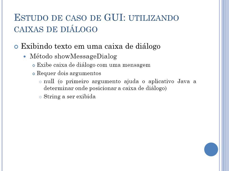 E STUDO DE CASO DE GUI: UTILIZANDO CAIXAS DE DIÁLOGO Exibindo texto em uma caixa de diálogo Método showMessageDialog Exibe caixa de diálogo com uma me