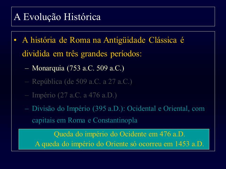 A Evolução Histórica A história de Roma na Antigüidade Clássica é dividida em três grandes períodos: –Monarquia (753 a.C. 509 a.C.) –República (de 509