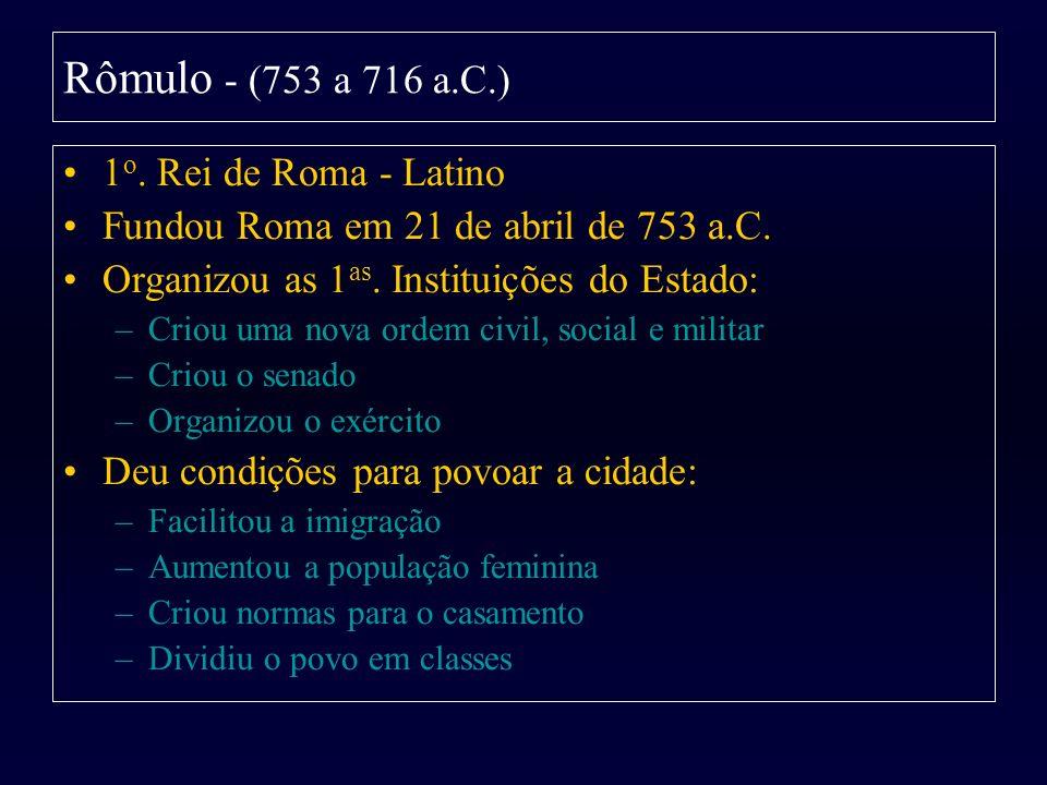 1 o. Rei de Roma - Latino Fundou Roma em 21 de abril de 753 a.C. Organizou as 1 as. Instituições do Estado: –Criou uma nova ordem civil, social e mili