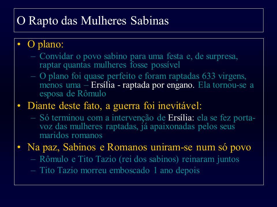 O Rapto das Mulheres Sabinas O plano: –Convidar o povo sabino para uma festa e, de surpresa, raptar quantas mulheres fosse possível –O plano foi quase