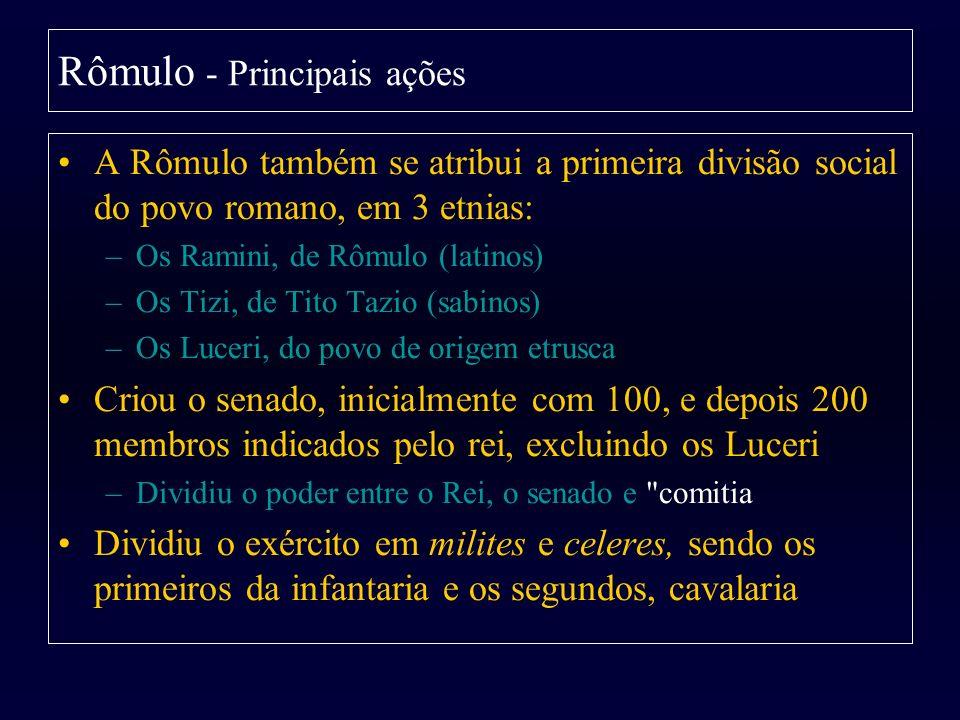 A Rômulo também se atribui a primeira divisão social do povo romano, em 3 etnias: –Os Ramini, de Rômulo (latinos) –Os Tizi, de Tito Tazio (sabinos) –O