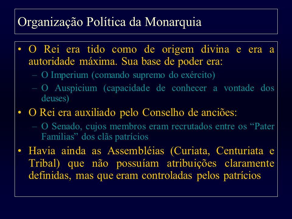 Organização Política da Monarquia O Rei era tido como de origem divina e era a autoridade máxima. Sua base de poder era: –O Imperium (comando supremo