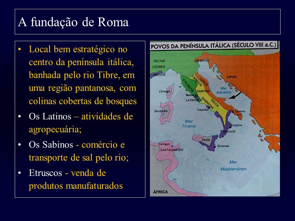 Local bem estratégico no centro da península itálica, banhada pelo rio Tibre, em uma região pantanosa, com colinas cobertas de bosques Os Latinos – at