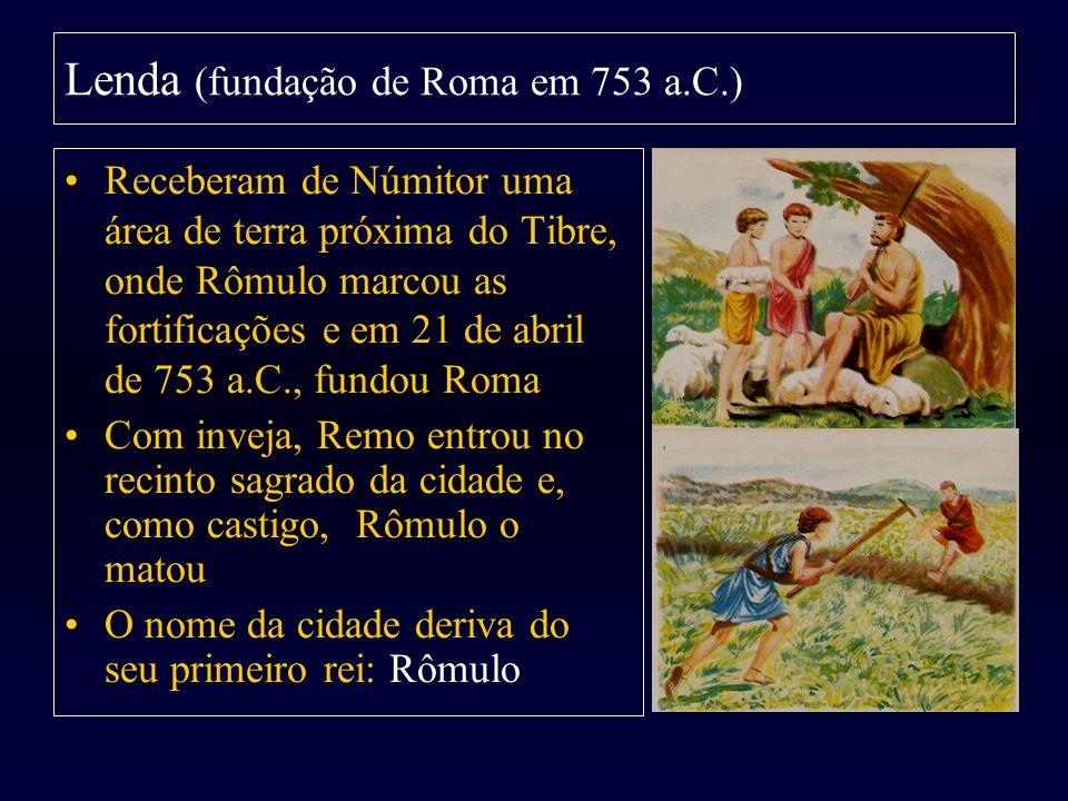 Receberam de Númitor uma área de terra próxima do Tibre, onde Rômulo marcou as fortificações e em 21 de abril de 753 a.C., fundou Roma Com inveja, Rem
